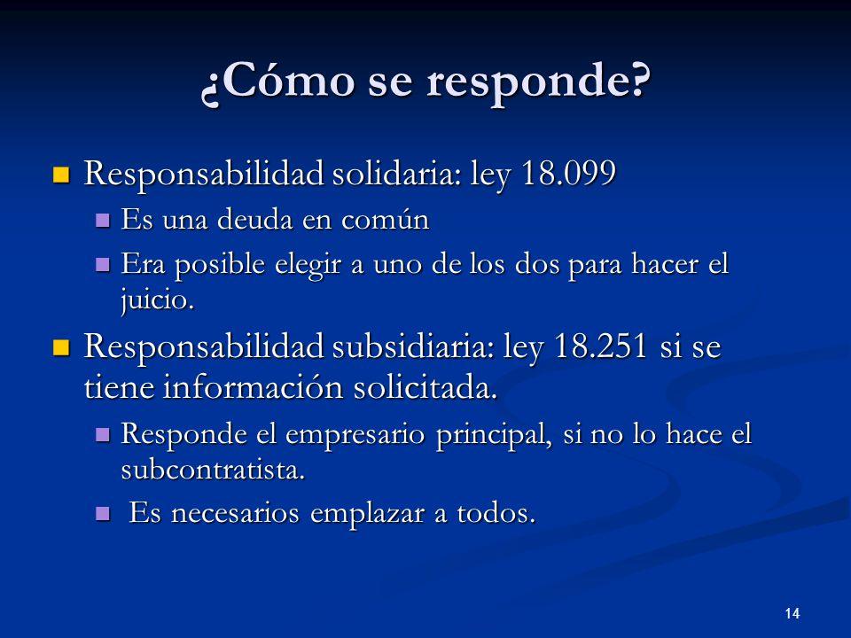 14 ¿Cómo se responde? Responsabilidad solidaria: ley 18.099 Responsabilidad solidaria: ley 18.099 Es una deuda en común Es una deuda en común Era posi