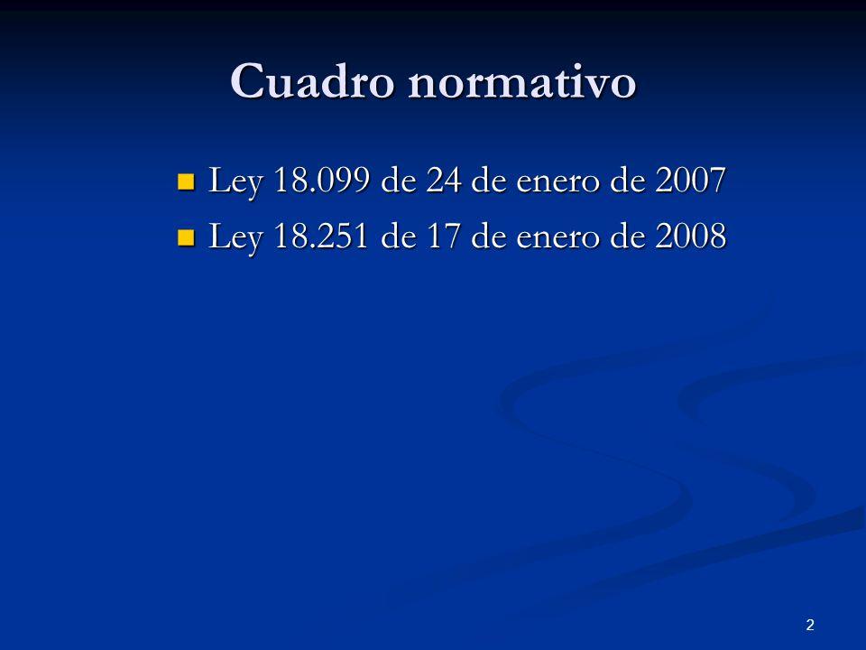 2 Cuadro normativo Ley 18.099 de 24 de enero de 2007 Ley 18.099 de 24 de enero de 2007 Ley 18.251 de 17 de enero de 2008 Ley 18.251 de 17 de enero de