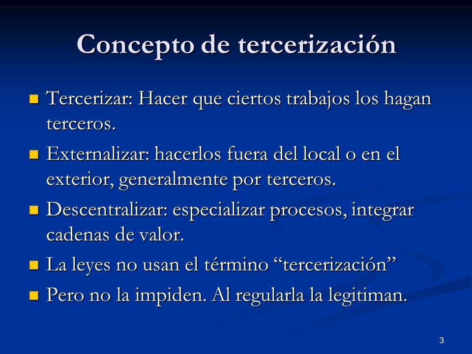3 Concepto de tercerización Tercerizar: Hacer que ciertos trabajos los hagan terceros.