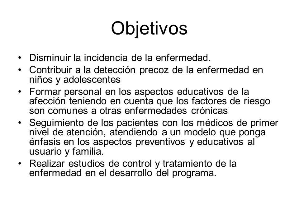 Objetivos Disminuir la incidencia de la enfermedad.