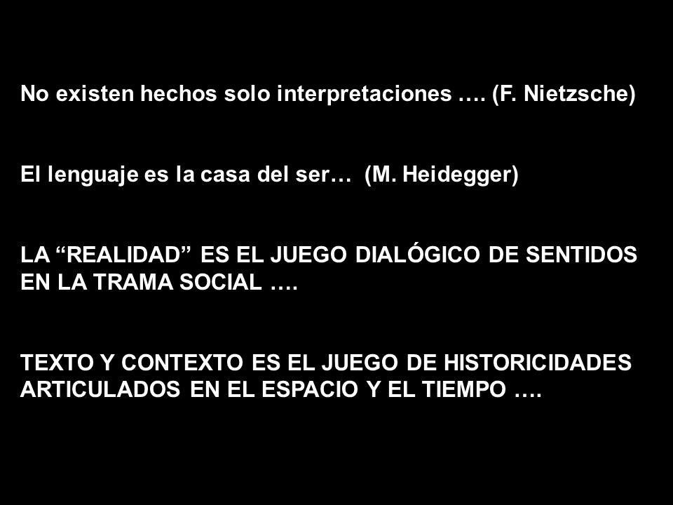 No existen hechos solo interpretaciones …. (F. Nietzsche) El lenguaje es la casa del ser… (M. Heidegger) LA REALIDAD ES EL JUEGO DIALÓGICO DE SENTIDOS