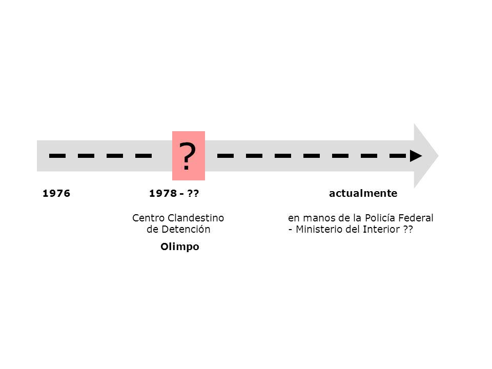 1976actualmente Centro Clandestino de Detención Olimpo en manos de la Policía Federal - Ministerio del Interior .