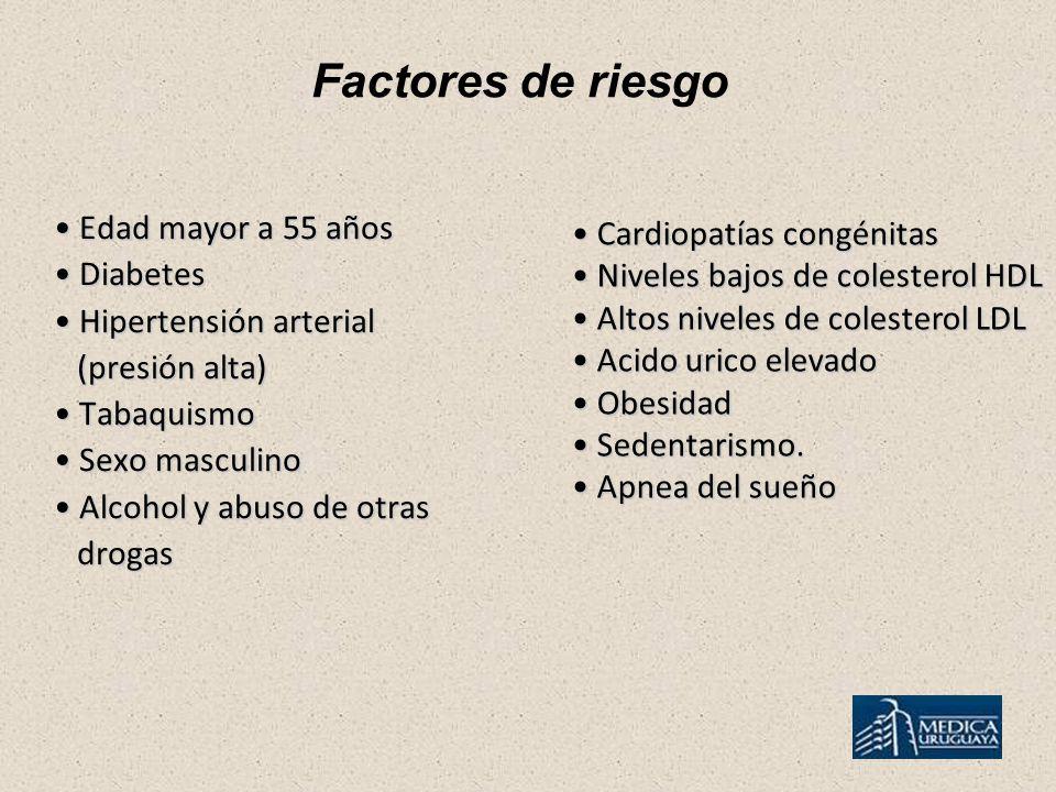 Factores de riesgo Edad mayor a 55 años Edad mayor a 55 años Diabetes Diabetes Hipertensión arterial Hipertensión arterial (presión alta) (presión alta) Tabaquismo Tabaquismo Sexo masculino Sexo masculino Alcohol y abuso de otras Alcohol y abuso de otras drogas drogas Cardiopatías congénitas Cardiopatías congénitas Niveles bajos de colesterol HDL Niveles bajos de colesterol HDL Altos niveles de colesterol LDL Altos niveles de colesterol LDL Acido urico elevado Acido urico elevado Obesidad Obesidad Sedentarismo.