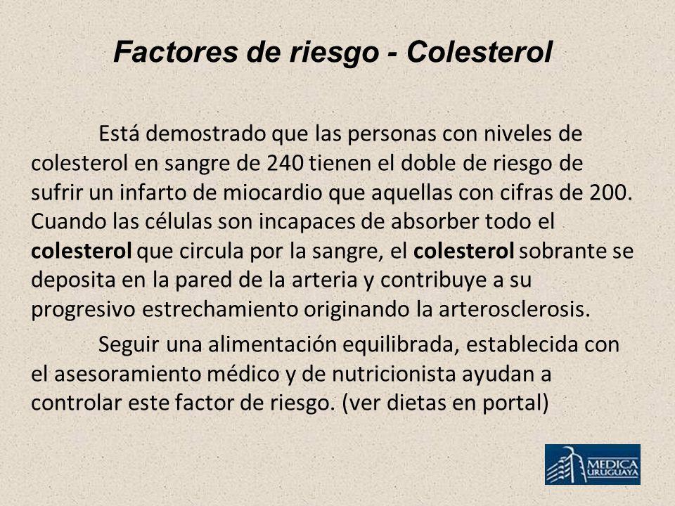 Factores de riesgo - Colesterol Está demostrado que las personas con niveles de colesterol en sangre de 240 tienen el doble de riesgo de sufrir un infarto de miocardio que aquellas con cifras de 200.