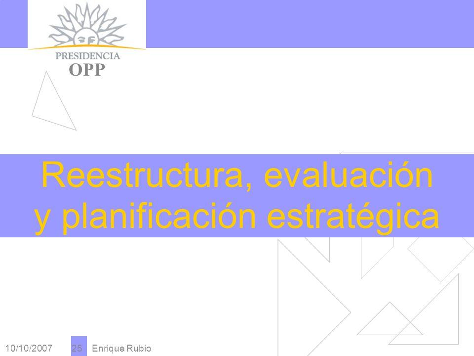 10/10/2007 Enrique Rubio 25 PRESIDENCIA OPP Reestructura, evaluación y planificación estratégica