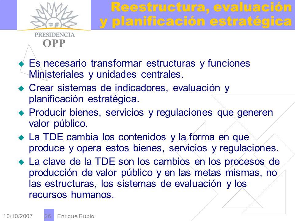 10/10/2007 Enrique Rubio 26 Reestructura, evaluación y planificación estratégica PRESIDENCIA OPP Es necesario transformar estructuras y funciones Ministeriales y unidades centrales.