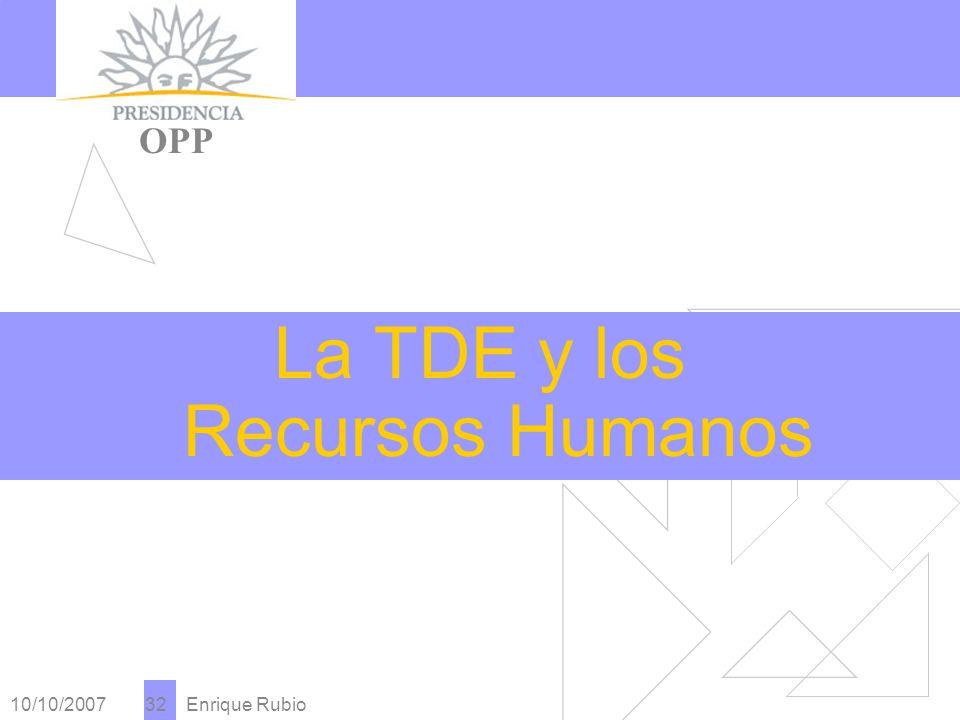 10/10/2007 Enrique Rubio 32 PRESIDENCIA OPP La TDE y los Recursos Humanos
