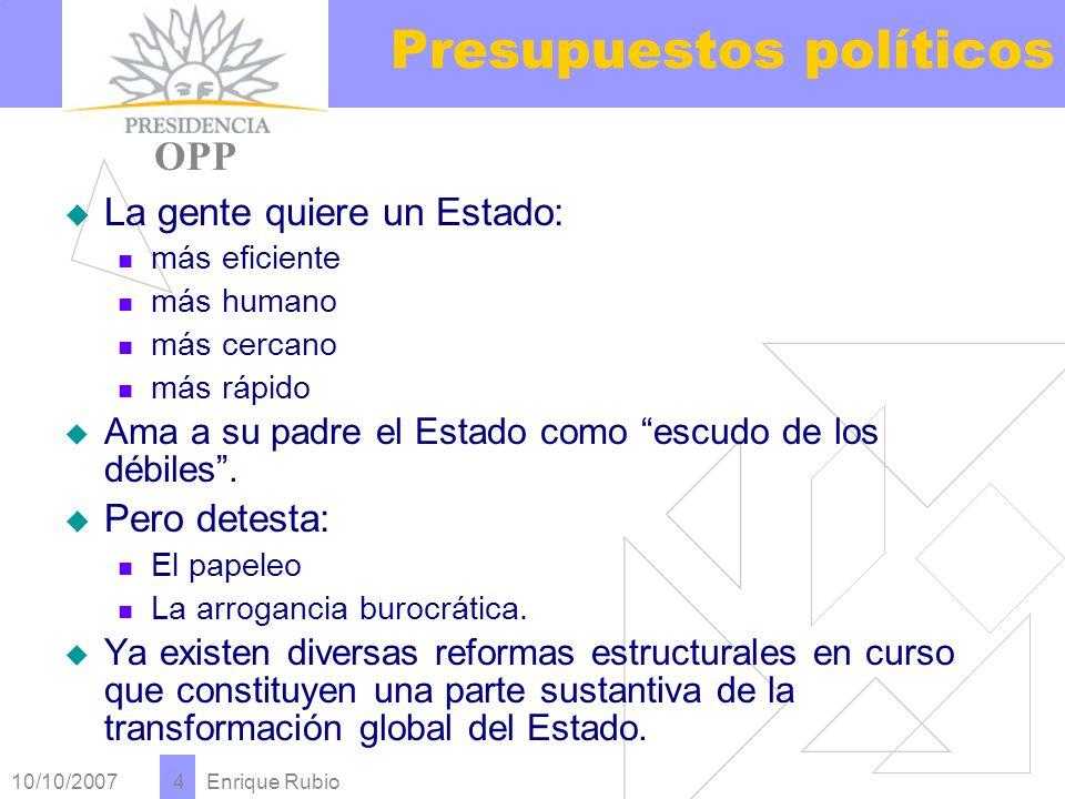 10/10/2007 Enrique Rubio 4 Presupuestos políticos PRESIDENCIA OPP La gente quiere un Estado: más eficiente más humano más cercano más rápido Ama a su padre el Estado como escudo de los débiles.