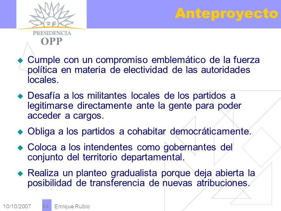 10/10/2007 Enrique Rubio 54 Anteproyecto PRESIDENCIA OPP Cumple con un compromiso emblemático de la fuerza política en materia de electividad de las autoridades locales.