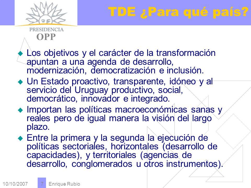 10/10/2007 Enrique Rubio 7 TDE ¿Para qué país.