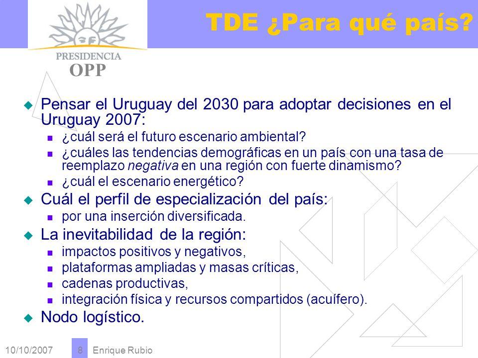 10/10/2007 Enrique Rubio 8 TDE ¿Para qué país.