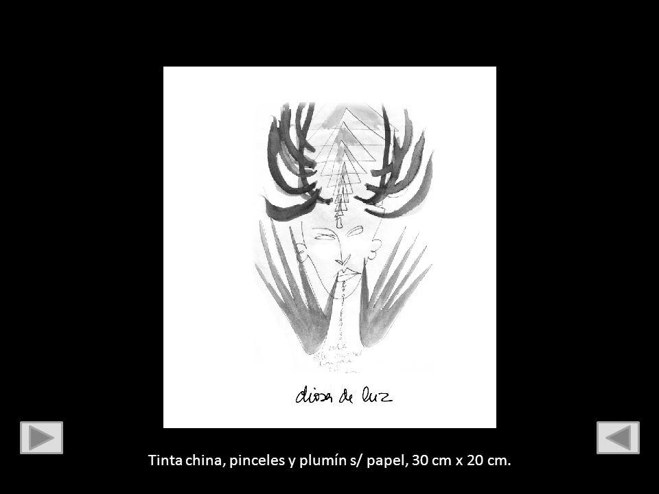 Tinta china, pinceles y plumín s/ papel, 30 cm x 20 cm.