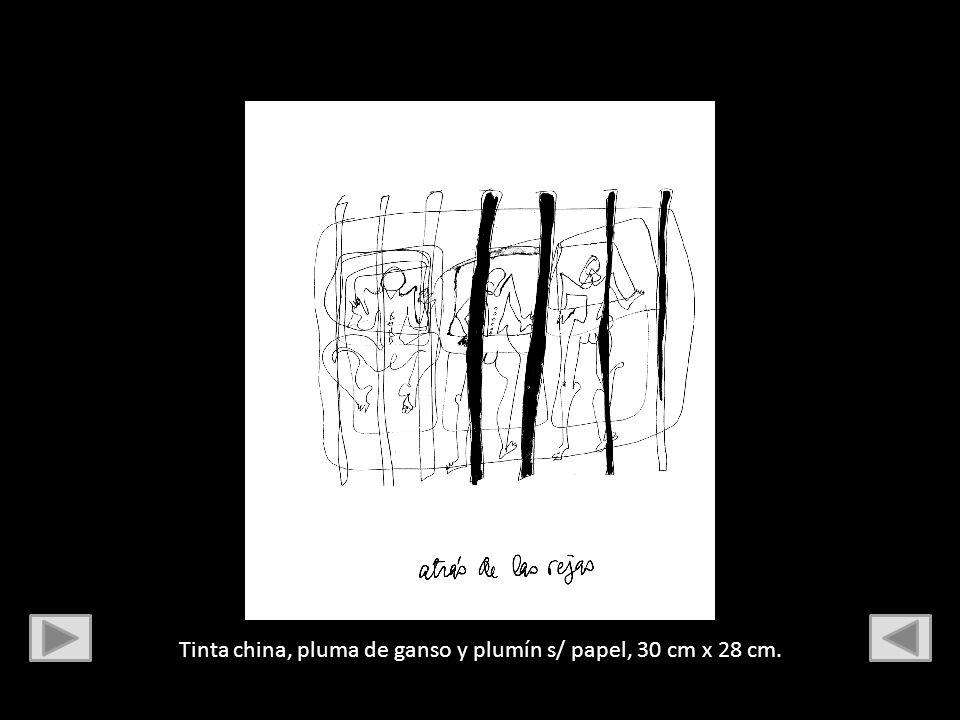 Tinta china, pluma de ganso y plumín s/ papel, 30 cm x 28 cm.