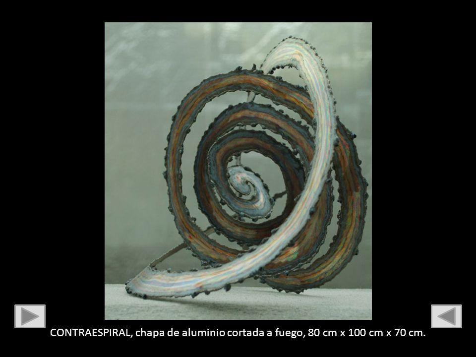 CONTRAESPIRAL, chapa de aluminio cortada a fuego, 80 cm x 100 cm x 70 cm.