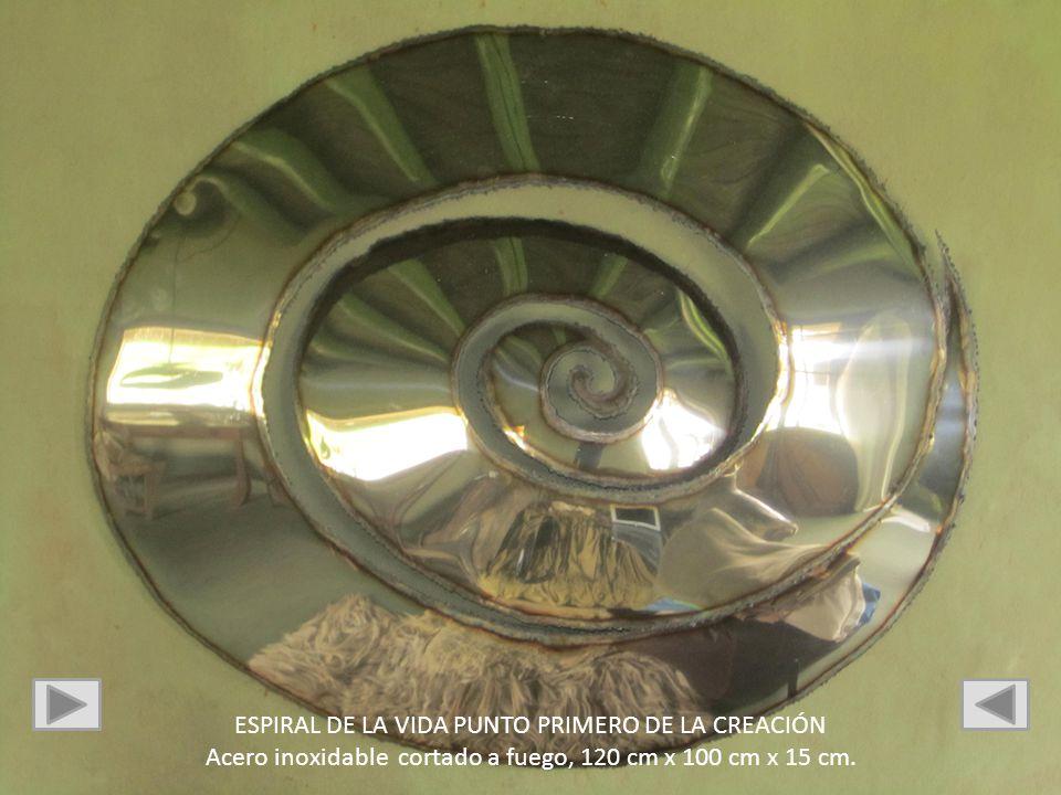 ESPIRAL DE LA VIDA PUNTO PRIMERO DE LA CREACIÓN Acero inoxidable cortado a fuego, 120 cm x 100 cm x 15 cm.