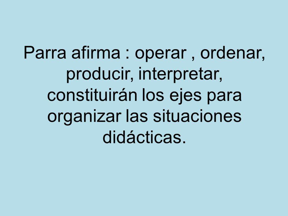 Parra afirma : operar, ordenar, producir, interpretar, constituirán los ejes para organizar las situaciones didácticas.