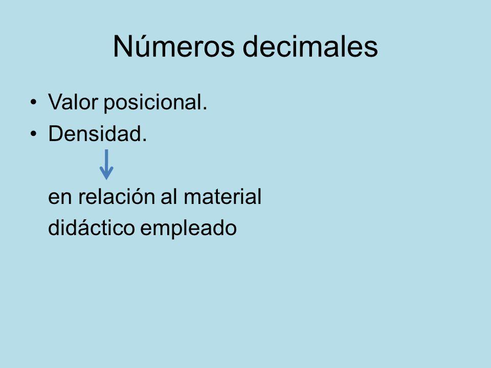 Números decimales Valor posicional. Densidad. en relación al material didáctico empleado