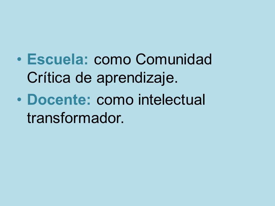 Escuela: como Comunidad Crítica de aprendizaje. Docente: como intelectual transformador.