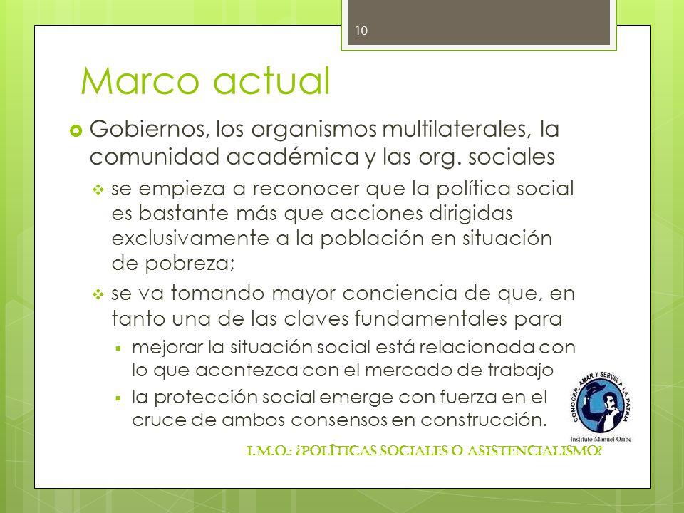 Marco actual Gobiernos, los organismos multilaterales, la comunidad académica y las org. sociales se empieza a reconocer que la política social es bas