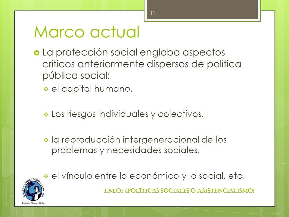 Marco actual La protección social engloba aspectos críticos anteriormente dispersos de política pública social: el capital humano, Los riesgos individ