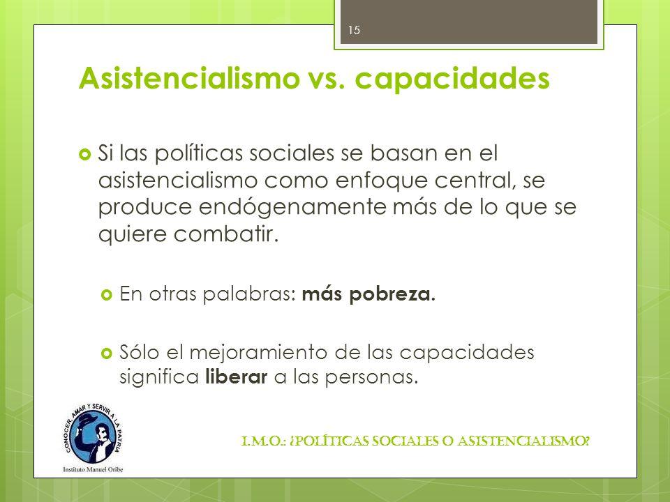 Asistencialismo vs. capacidades Si las políticas sociales se basan en el asistencialismo como enfoque central, se produce endógenamente más de lo que