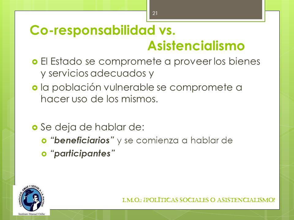 Co-responsabilidad vs. Asistencialismo El Estado se compromete a proveer los bienes y servicios adecuados y la población vulnerable se compromete a ha