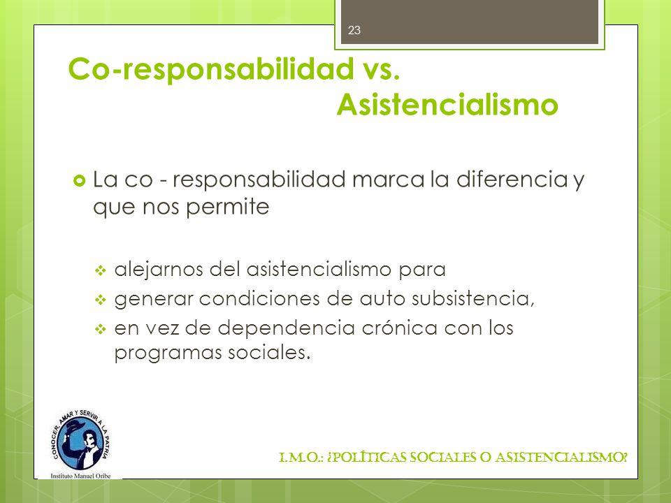 Co-responsabilidad vs. Asistencialismo La co - responsabilidad marca la diferencia y que nos permite alejarnos del asistencialismo para generar condic
