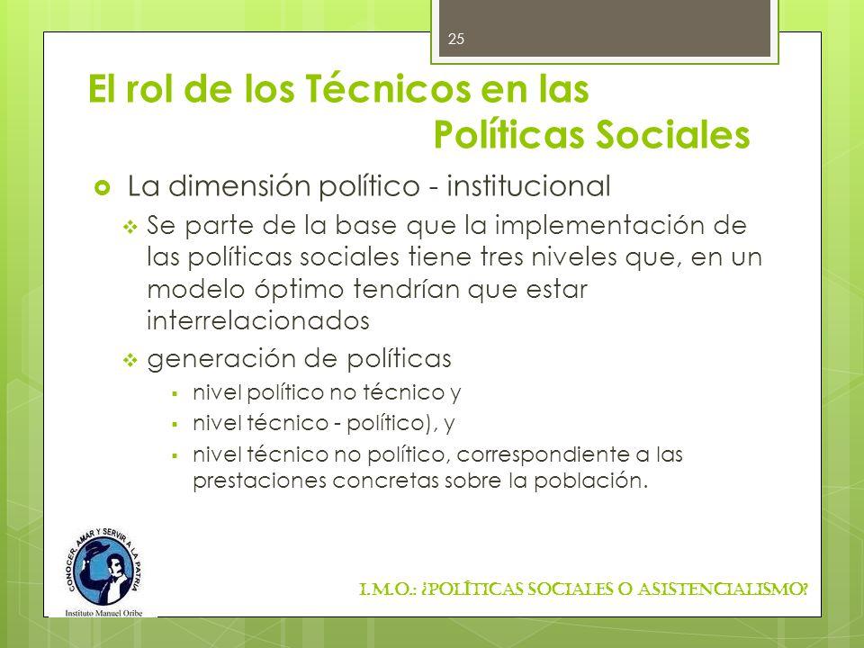 El rol de los Técnicos en las Políticas Sociales La dimensión político - institucional Se parte de la base que la implementación de las políticas soci