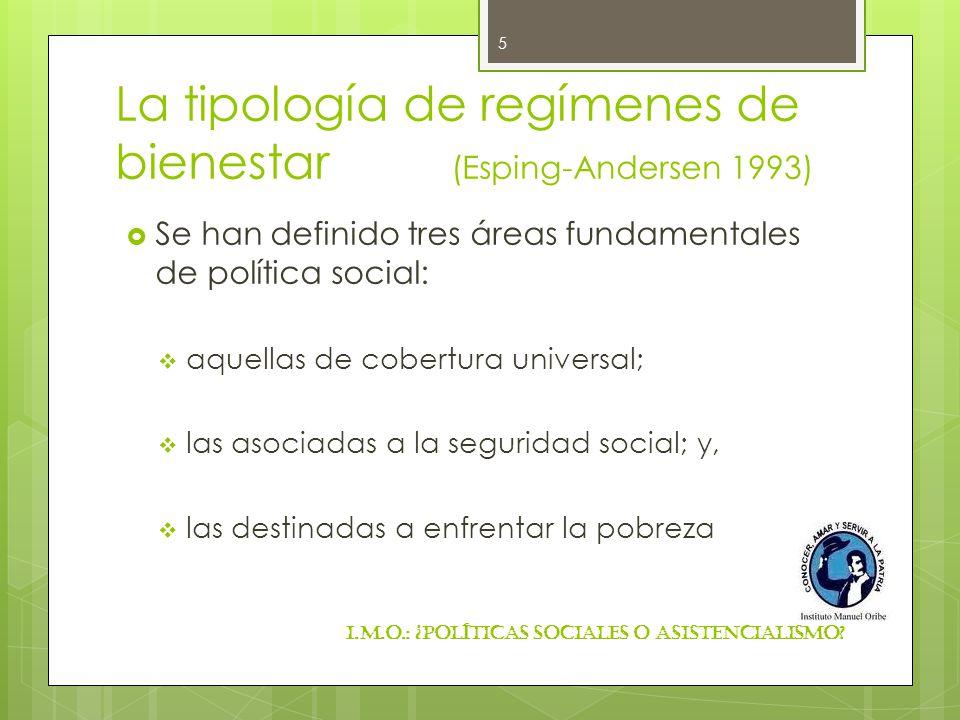 La tipología de regímenes de bienestar (Esping-Andersen 1993) Se han definido tres áreas fundamentales de política social: aquellas de cobertura unive