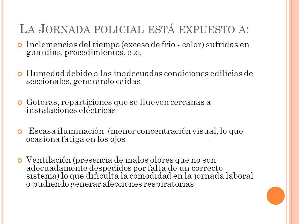 L A J ORNADA POLICIAL ESTÁ EXPUESTO A : Inclemencias del tiempo (exceso de frio - calor) sufridas en guardias, procedimientos, etc. Humedad debido a l