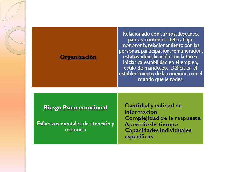 Organización Riesgo Psico-emocional Esfuerzos mentales de atención y memoria Relacionado con turnos, descanso, pausas, contenido del trabajo, monotoní