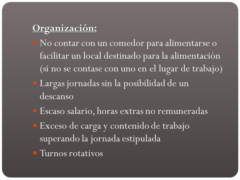 Organización: No contar con un comedor para alimentarse o facilitar un local destinado para la alimentación (si no se contase con uno en el lugar de t
