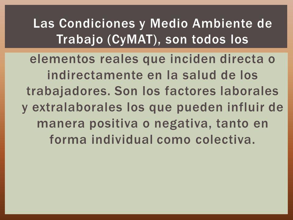 Las Condiciones y Medio Ambiente de Trabajo (CyMAT), son todos los elementos reales que inciden directa o indirectamente en la salud de los trabajador
