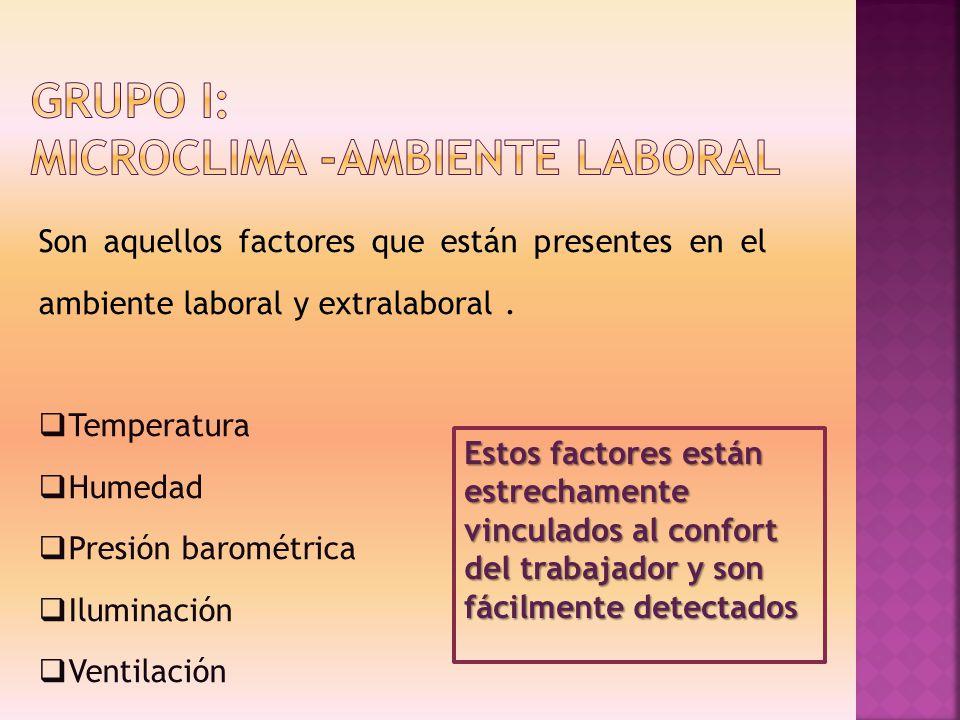 Son aquellos factores que están presentes en el ambiente laboral y extralaboral. Temperatura Humedad Presión barométrica Iluminación Ventilación Estos