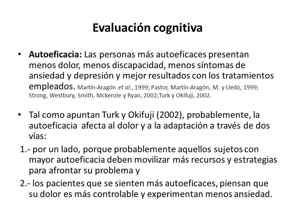 Evaluación cognitiva Autoeficacia: Las personas más autoeficaces presentan menos dolor, menos discapacidad, menos síntomas de ansiedad y depresión y m
