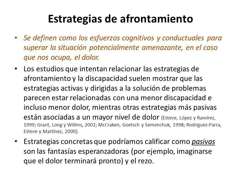 Estrategias de afrontamiento Se definen como los esfuerzos cognitivos y conductuales para superar la situación potencialmente amenazante, en el caso q