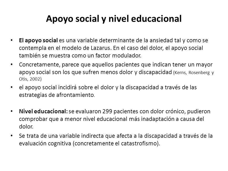 Apoyo social y nivel educacional El apoyo social es una variable determinante de la ansiedad tal y como se contempla en el modelo de Lazarus. En el ca