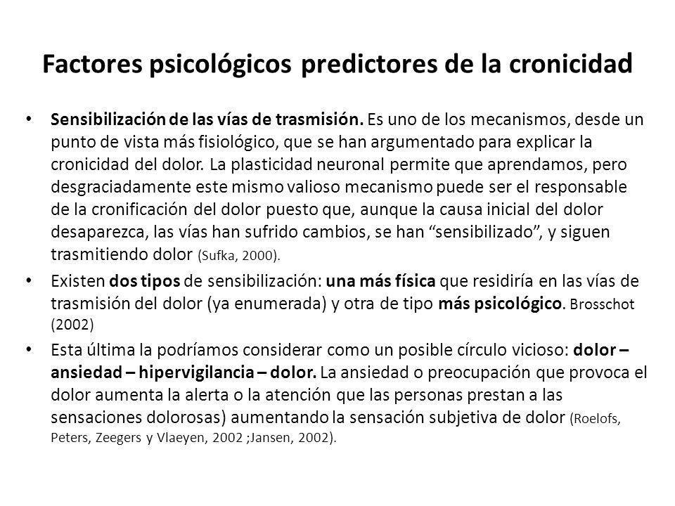 Factores psicológicos predictores de la cronicida d Sensibilización de las vías de trasmisión. Es uno de los mecanismos, desde un punto de vista más f