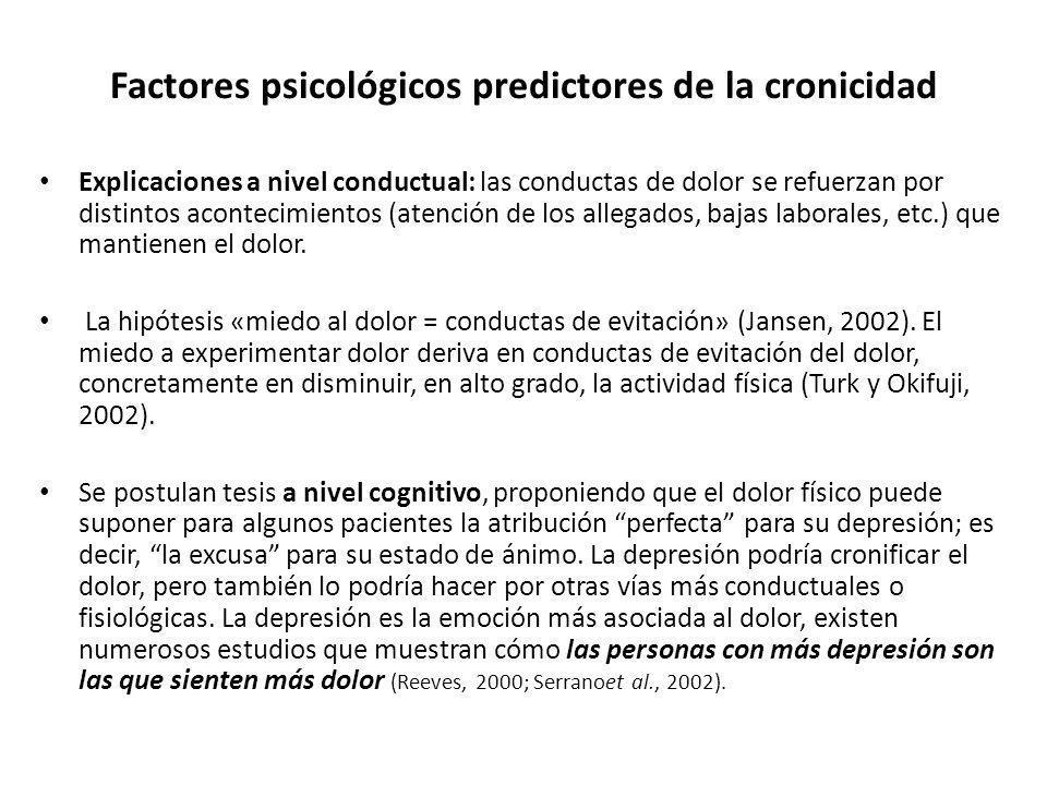 Factores psicológicos predictores de la cronicidad Explicaciones a nivel conductual: las conductas de dolor se refuerzan por distintos acontecimientos
