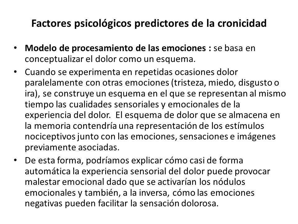 Factores psicológicos predictores de la cronicidad Modelo de procesamiento de las emociones : se basa en conceptualizar el dolor como un esquema. Cuan