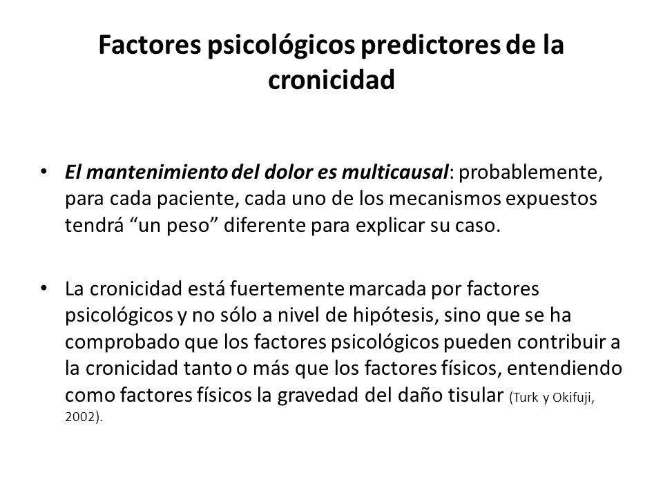 Factores psicológicos predictores de la cronicidad El mantenimiento del dolor es multicausal: probablemente, para cada paciente, cada uno de los mecan