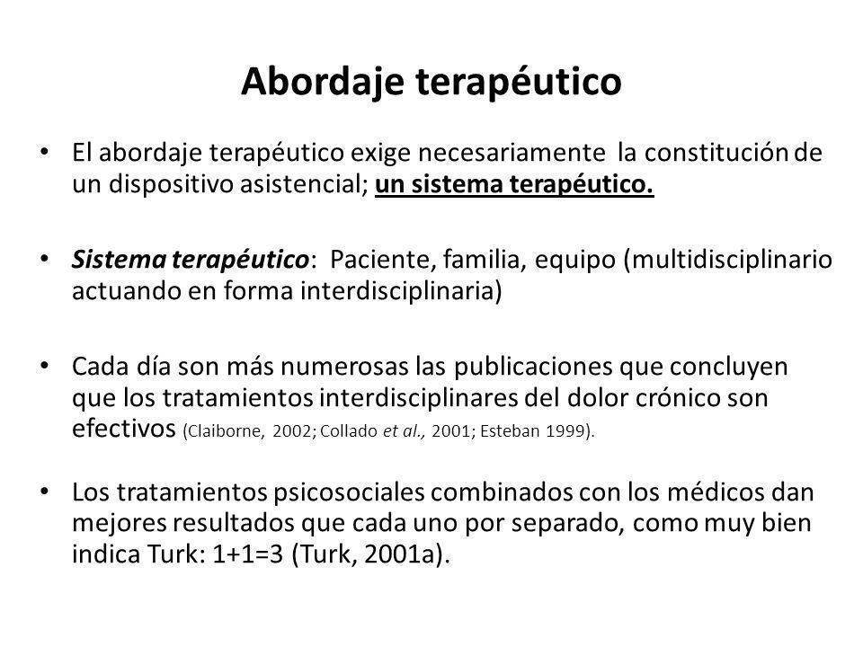 Abordaje terapéutico El abordaje terapéutico exige necesariamente la constitución de un dispositivo asistencial; un sistema terapéutico. Sistema terap