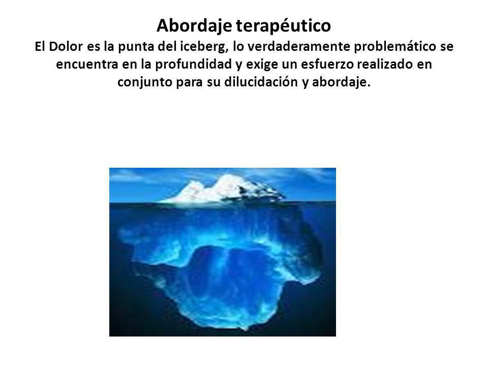 Abordaje terapéutico El Dolor es la punta del iceberg, lo verdaderamente problemático se encuentra en la profundidad y exige un esfuerzo realizado en