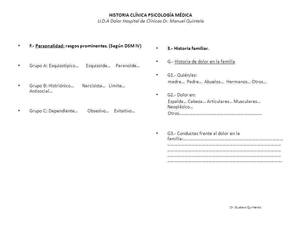 HISTORIA CLÍNICA PSICOLOGÍA MÉDICA U.D.A Dolor Hospital de Clínicas Dr. Manuel Quintela F.- Personalidad: rasgos prominentes. (Según DSM IV) Grupo A: