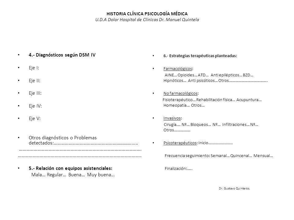 HISTORIA CLÍNICA PSICOLOGÍA MÉDICA U.D.A Dolor Hospital de Clínicas Dr. Manuel Quintela 4.- Diagnósticos según DSM IV Eje I: Eje II: Eje III: Eje IV: