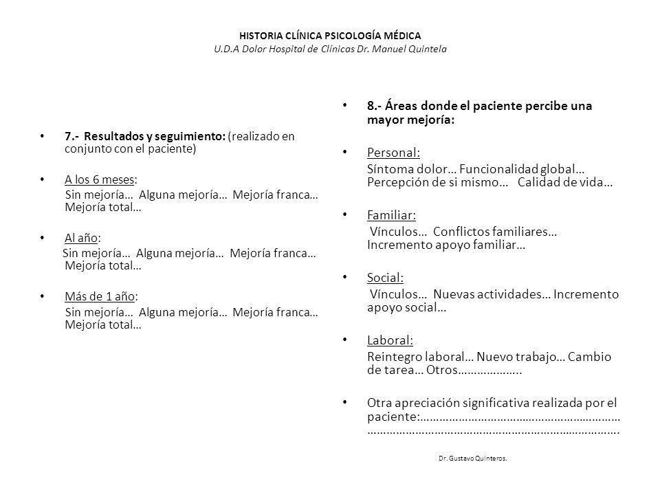 HISTORIA CLÍNICA PSICOLOGÍA MÉDICA U.D.A Dolor Hospital de Clínicas Dr. Manuel Quintela 7.- Resultados y seguimiento: (realizado en conjunto con el pa