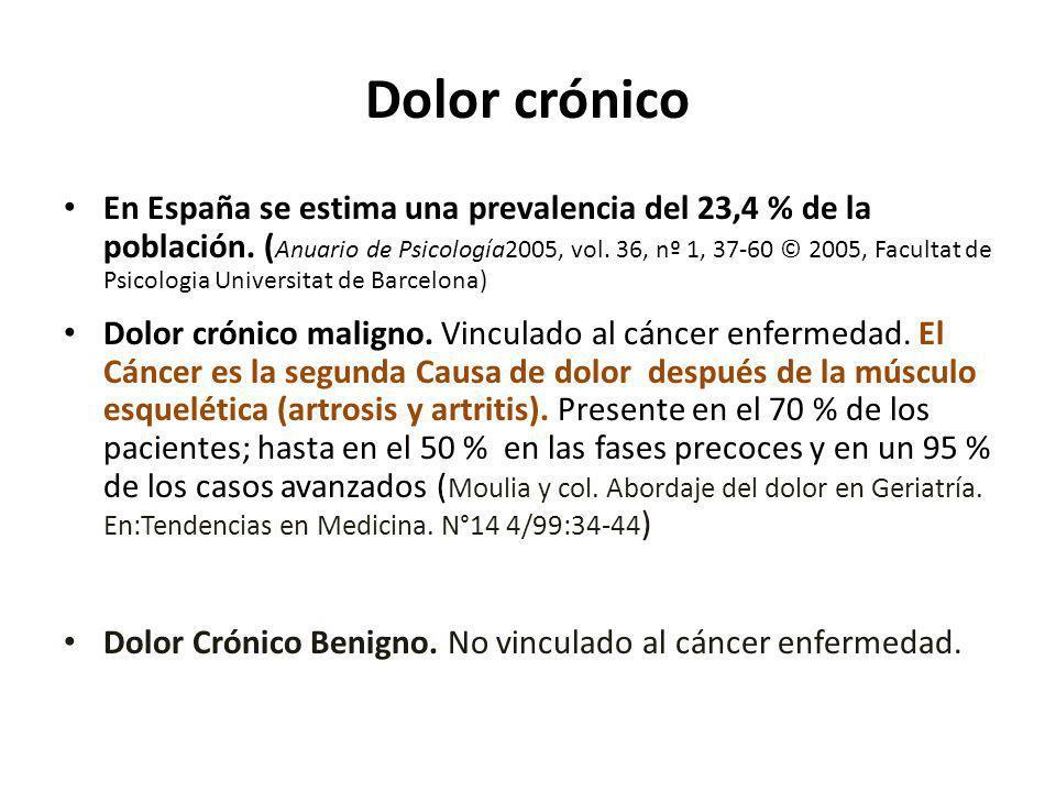 Dolor crónico En España se estima una prevalencia del 23,4 % de la población. ( Anuario de Psicología2005, vol. 36, nº 1, 37-60 © 2005, Facultat de Ps