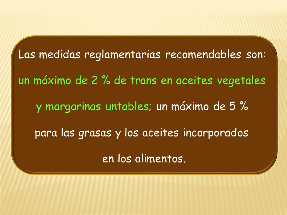 Las medidas reglamentarias recomendables son: un máximo de 2 % de trans en aceites vegetales y margarinas untables; un máximo de 5 % para las grasas y