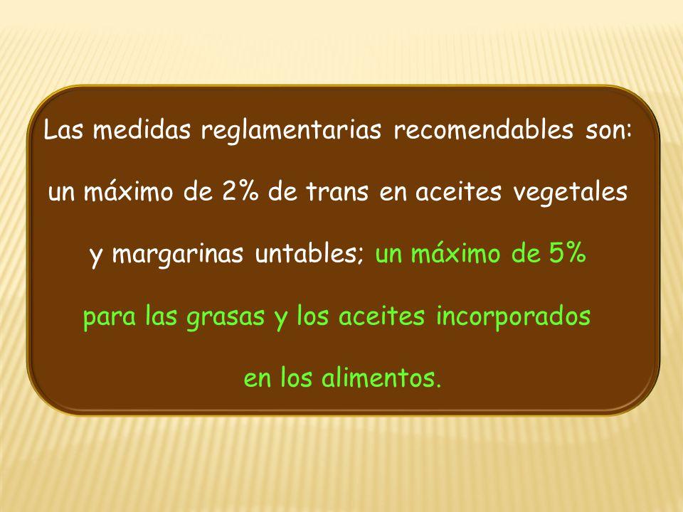 Las medidas reglamentarias recomendables son: un máximo de 2% de trans en aceites vegetales y margarinas untables; un máximo de 5% para las grasas y l