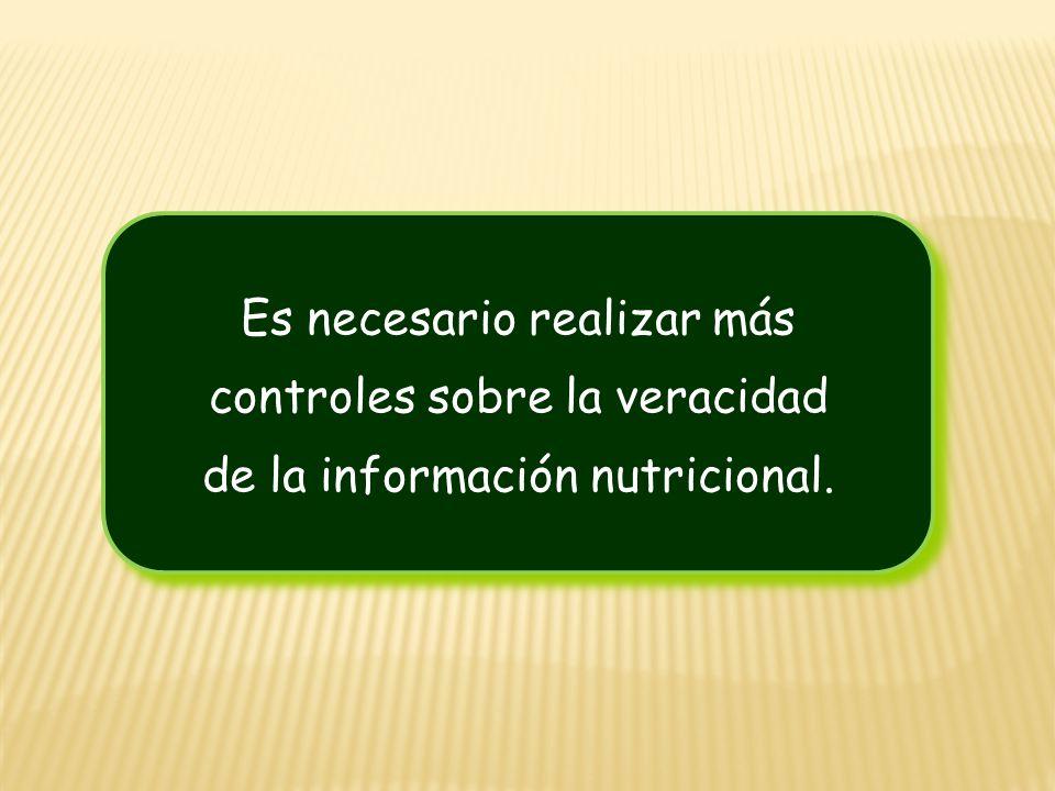 Es necesario realizar más controles sobre la veracidad de la información nutricional. Es necesario realizar más controles sobre la veracidad de la inf